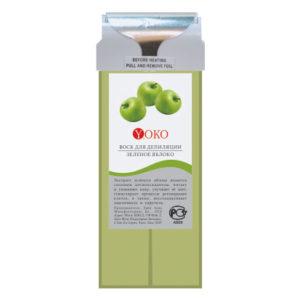 Воск в картридже Yoko WAX GA Зеленое яблоко широкий ролик натуральные компоненты стандартный размер 100 г.